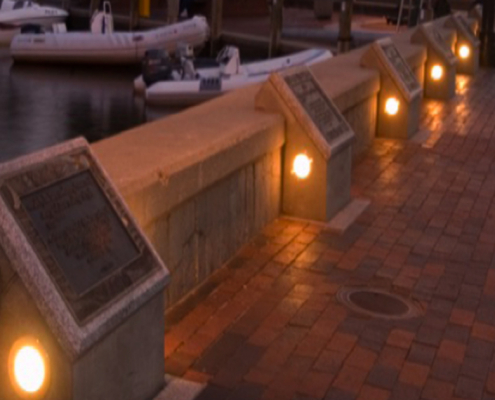 Leonard A. Blackshear Walkway - Story Wall (Night)