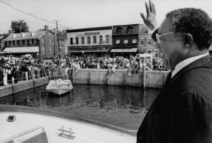 Alex Haley, the author of Roots, greets fans at City Dock in downtown Historic Annapolis.