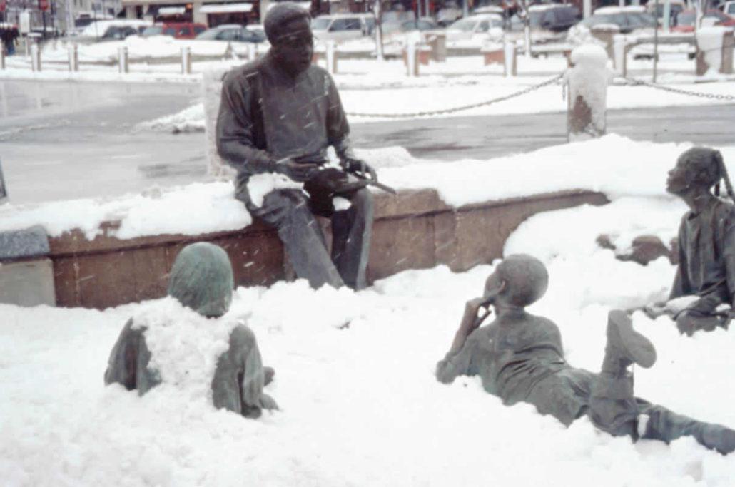 Kunta Kinte-Alex Haley Memorial Covered In Snow