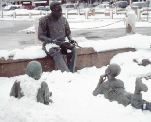 Kunta Kinte-Alex Haley Memorial Covered In Snow